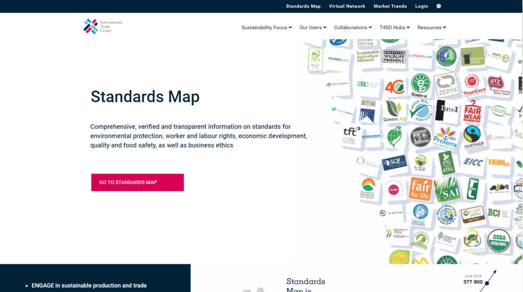 Screenshot der Webseite Standards Map