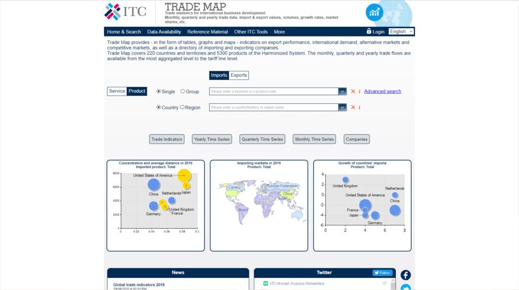 Screenshot der Webseite der Trademap